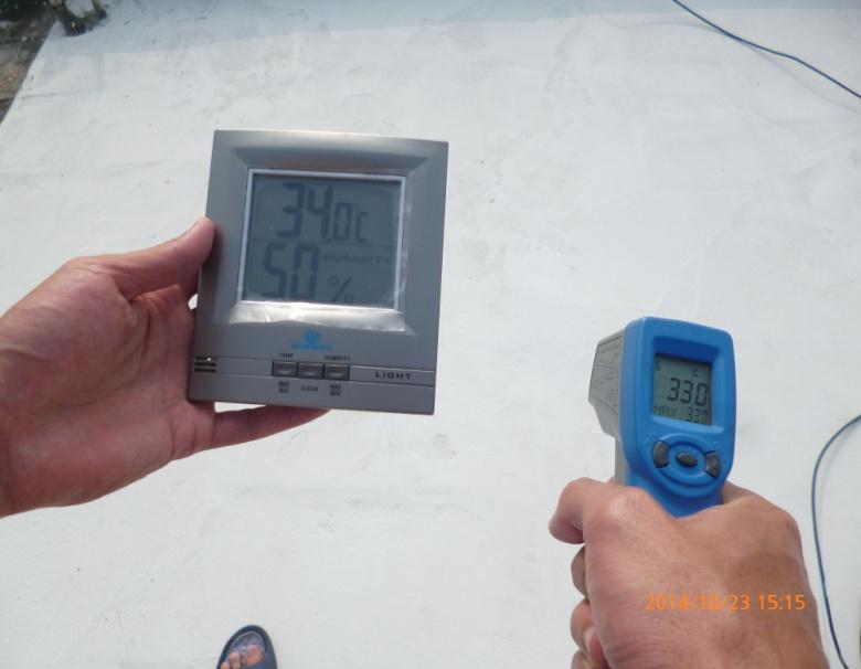 台灣高雄壽民路屋頂使用CG100TIC水泥系隔熱保溫塗料施工後溫度比較,有效降低表面溫度