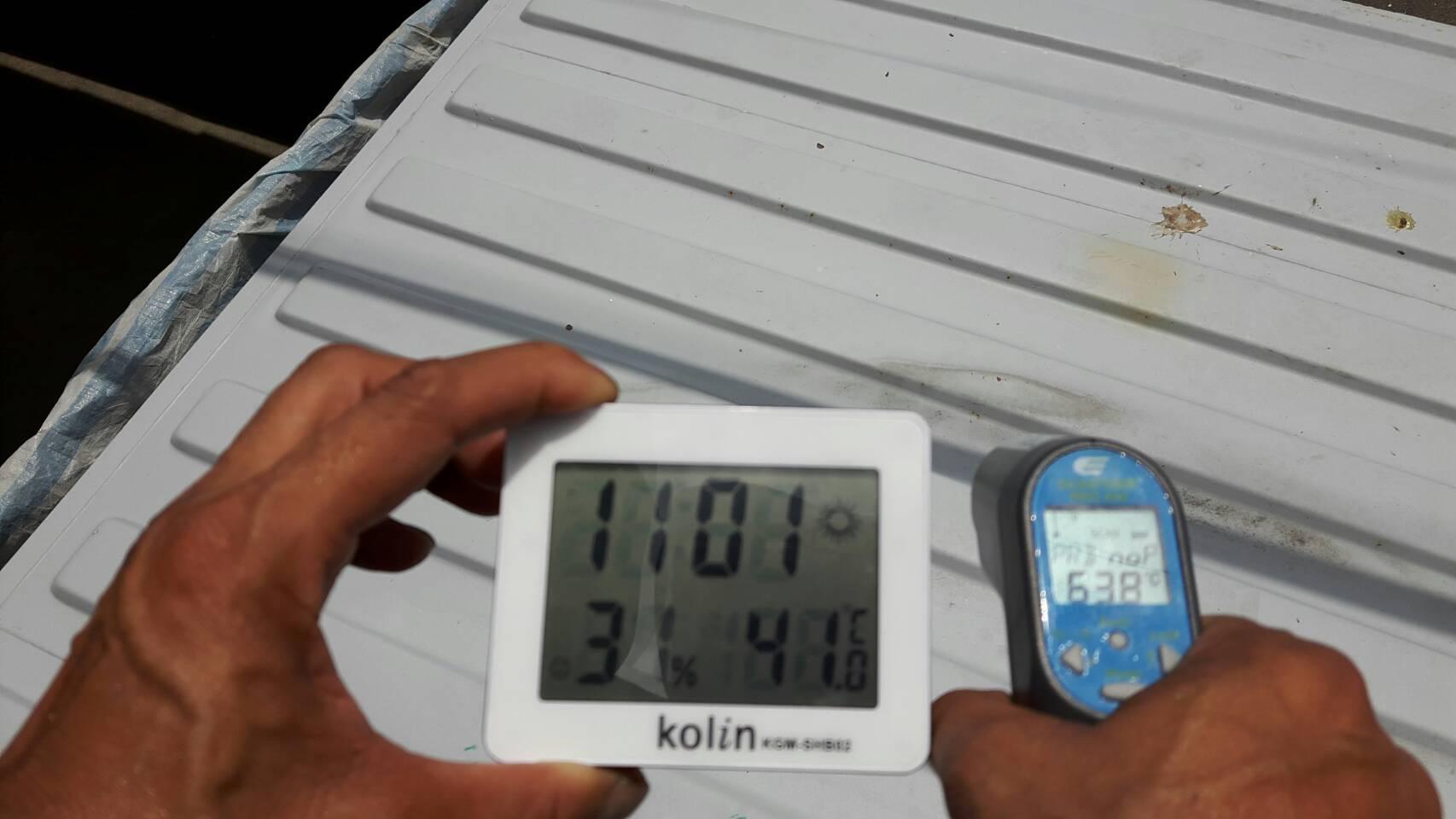 台灣屏東九如農場鐵皮屋使用CGF7600A水性抗污隔熱防水漆前