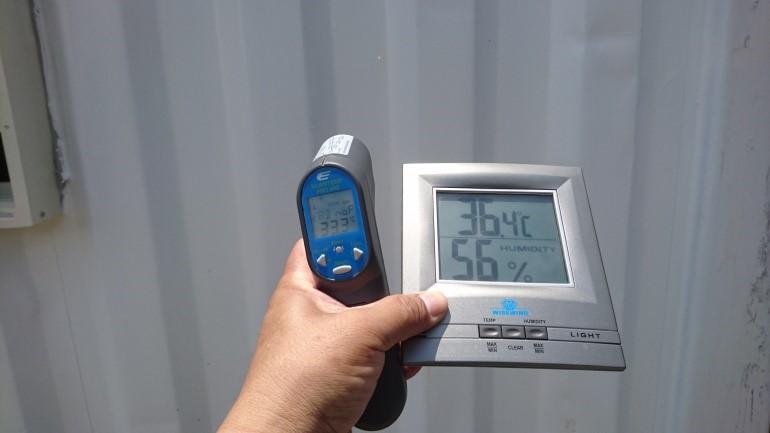 台灣屏東南州貨櫃屋使用CGF7600A水性抗污隔熱防水漆後溫度比較,有效隔熱保溫