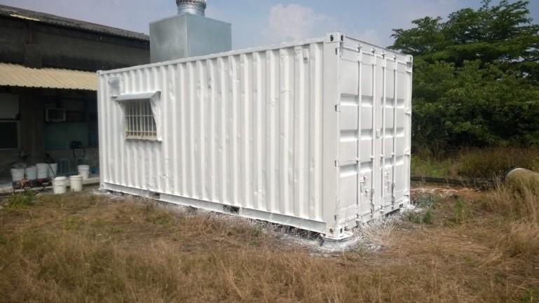 台灣屏東南州貨櫃屋使用CGF7600A水性抗污隔熱防水漆後,有效隔熱保溫
