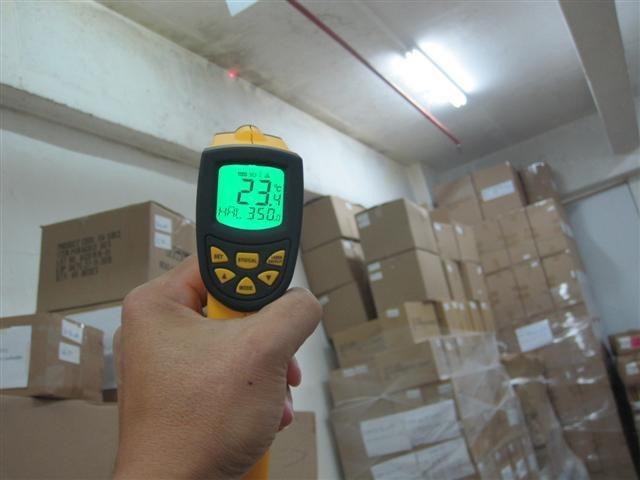 沙田華生工業大廈204室冷藏庫使用CG100TIC水泥系隔熱保溫塗料施工前溫度比較