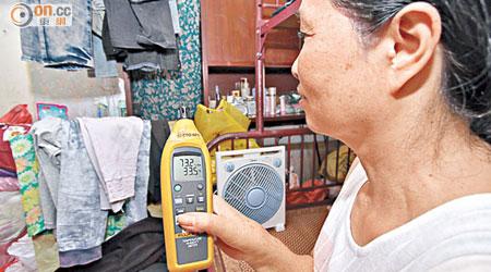 羅女士居住的天台鐵皮屋氣溫高達攝氏三十三點五度。