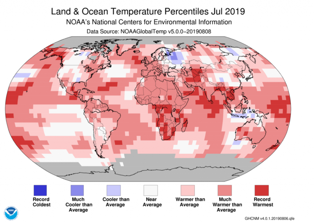 多個機構確認 2019 年 7 月成史上最熱月份 Credit: NOAA
