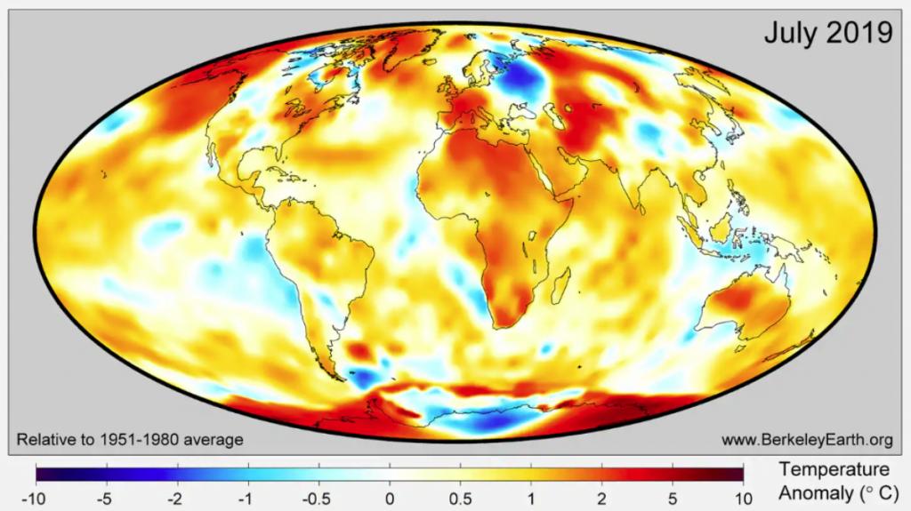 多個機構確認 2019 年 7 月成史上最熱月份 Credit: Berkeley Earth
