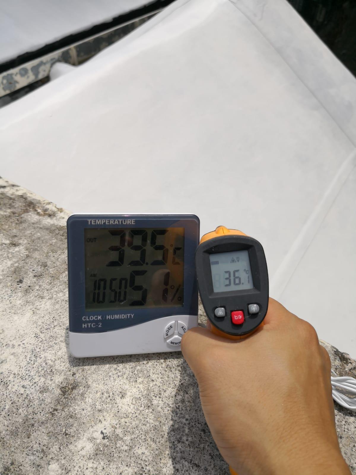 香港基督科學教會香港第一分會天面使用CGF7600A水性抗污隔熱防水漆後溫度比較,有效隔熱保溫